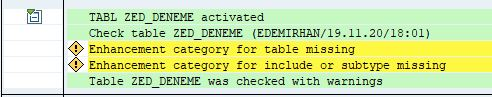 Enhancement category for table missing