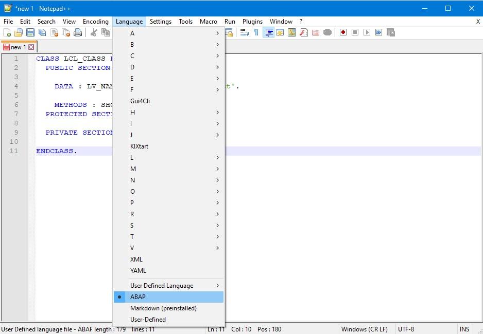 Notepad++ ABAP