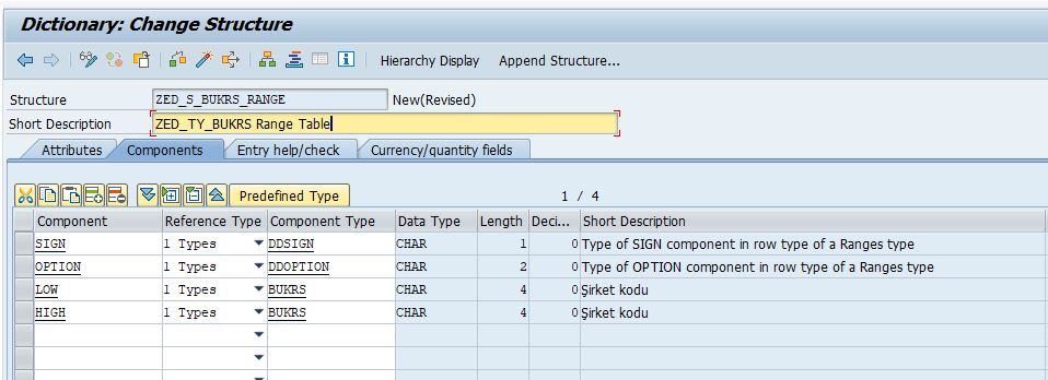 Range Table Structured Row Type