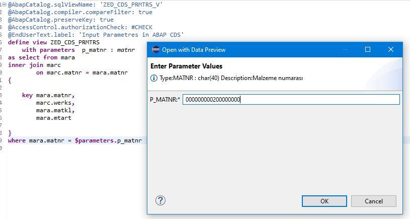 Input Parametres in ABAP CDS
